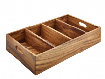 Acacia Wood 4 Compartment Cutlery Tray 53x32.5x10cm