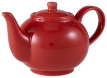 GenWare Porcelain Red Teapot 45cl/15.75oz x6
