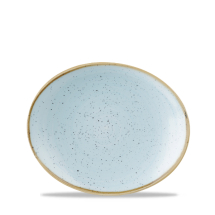 Stonecast Duck Egg Blue Orbit Oval Coupe Plate 7.75inch x12