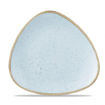 Stonecast Duck Egg Blue Lotus Triangle Plate 10.5inch x12