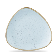 Stonecast Duck Egg Blue Lotus Triangle Plate 9inch x12