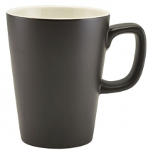 GenWare Porcelain Matt Black Latte Mug 34cl/12oz x6