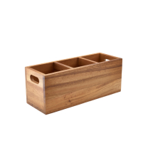 Acacia Wood 3 Compartment Cutlery Box