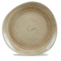 Stonecast Patina Antique Taupe Round Trace Plate 11 1/4inch x12