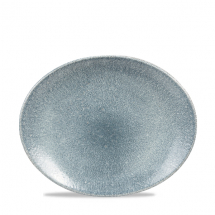 Raku Topaz Blue Orbit Oval Coupe Plate 10inch x12