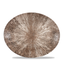 Stone Zircon Brown Orbit Oval Coupe Plate 12.5inch x12