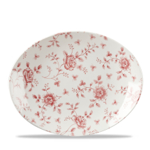 Rose Chintz Cranberry Orbit Oval Coupe Plate 12.5inch x6