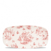 Toile Cranberry Oblong Chefs Plate (No3) 11.75x6inch x12