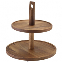 Acacia Wood Two Tier Cake Stand