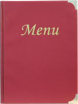 A4 Menu Holder Wine Red 8 Pages x1