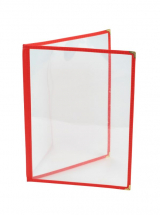 Red American Style A4 Menu Holder - 2 Page x1