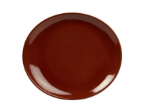 Terra Stoneware Rustic Red Oval Plate 21x19cm x6