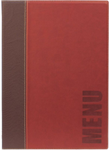 Contemporary A4 Menu Holder Wine Red 4 Pages x1