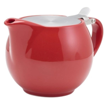 Genware Porcelain Red Teapot with S/S Lid & Infuser 50cl/17.6oz