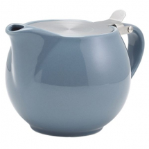 Genware Porcelain Grey Teapot with S/S Lid & Infuser 50cl/17.6oz