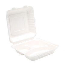 3 Comp 9inch Bagasse Square Meal Box x200